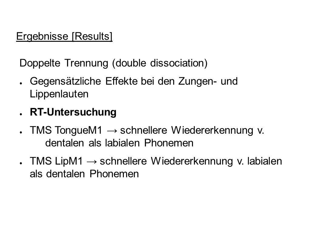 Ergebnisse [Results] Doppelte Trennung (double dissociation) Gegensätzliche Effekte bei den Zungen- und Lippenlauten.